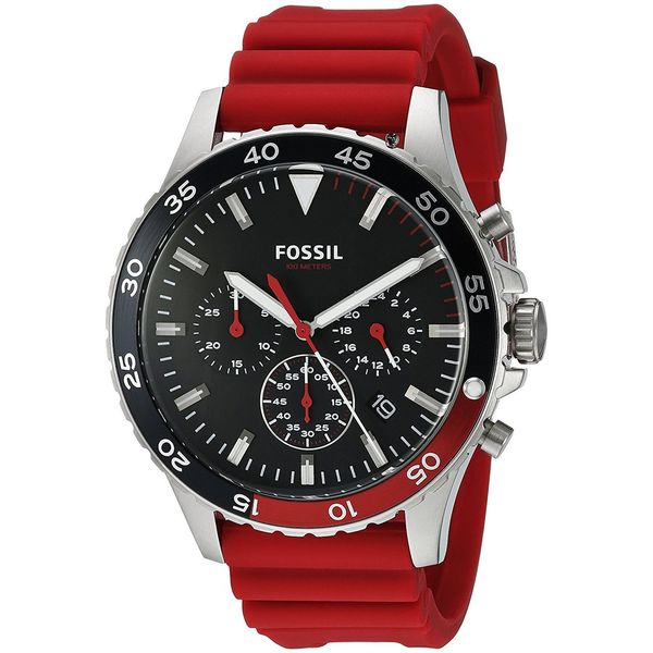 Fossil Men's CH3056 'Crewmaster' Chronograph Red Silicone Watch 21990934