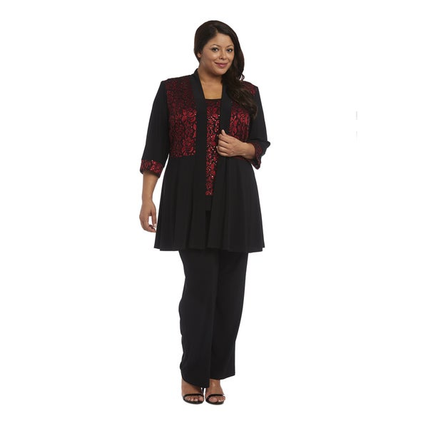 R&M Richards Plus Size Vest Pant Set