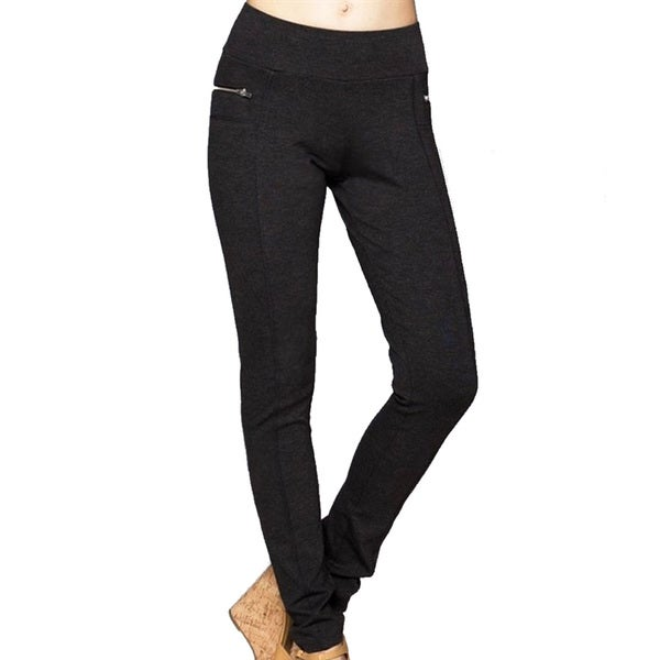 Women's Black Rayon/Nylon/Spandex Ponti Pants