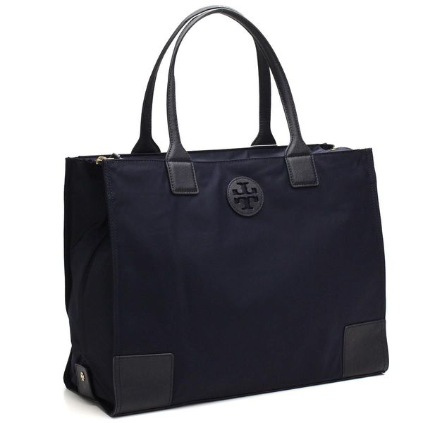 Tory Burch Ella Tory Navy Foldable Tote Bag