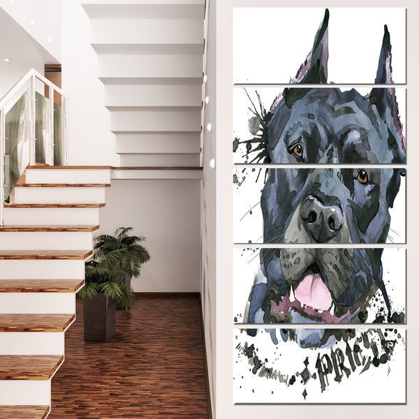Designart 'Aggressive Black Dog Illustration' Animal Canvas Wall Art