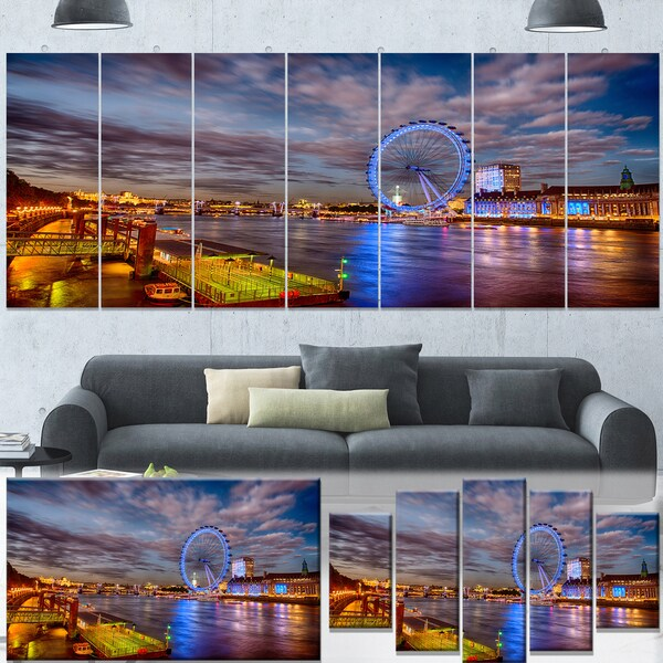 Designart 'Colorful City of London at Night' Modern Cityscape Canvas Artwork