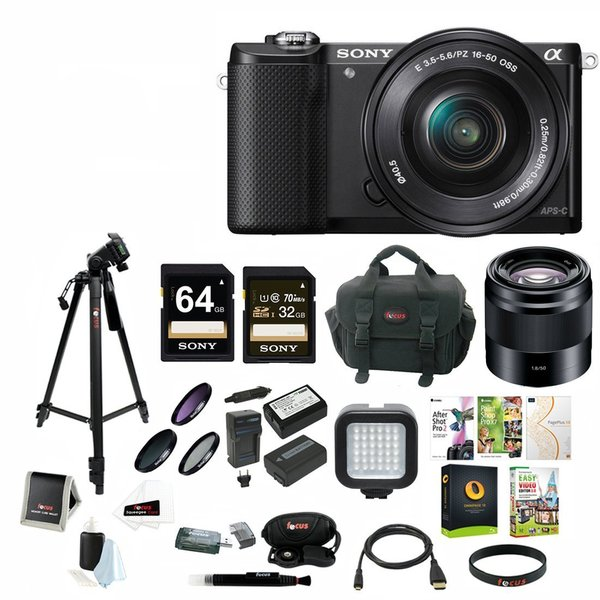 Sony Alpha a5000 Camera with E 50mm f/1.8 OSS Lens and Focus Accessory Bundle