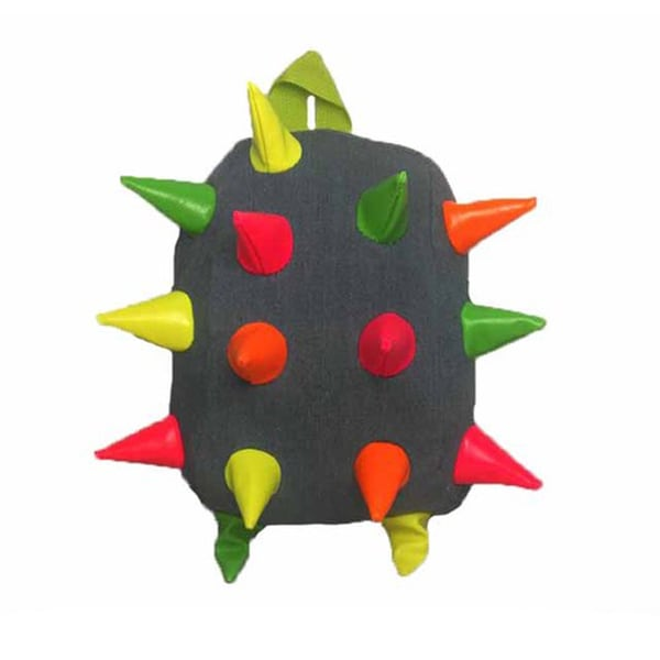 Toddler Grey and Multicolored 3D Spike Backpack