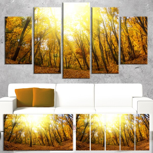 Designart 'Yellow Autumn Forest in Sunlight' Large Forest Canvas Art 22010873