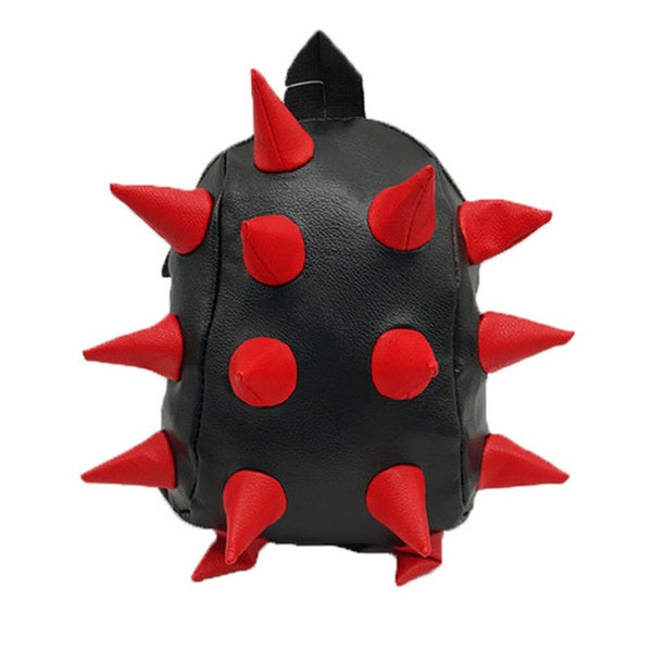 Toddler Black with Red Synthetic Leather 3D Spike Backpack