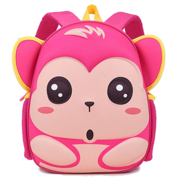 Little Kids Red Rose Monkey Cartoon Pink EVA Backpack