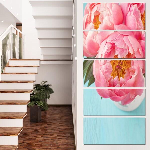 Designart 'Bunch of Light Pink Peony Flowers' Floral Canvas Artwork Print