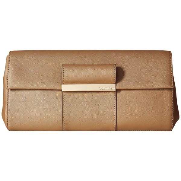 Calvin Klein Gold Saffiano Leather Evening Clutch
