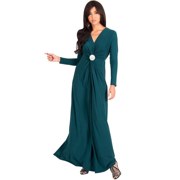 KOH KOH Womens Semi Formal Flowy Fall Long Sleeve Gowns Maxi Dresses + FREE GIFT -  Global Clothing Group, Evening Long Sleeve Diamond Maxi Dress