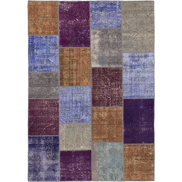 eCarpetGallery Color Transition Patch Blue and Purple Wool Rug (5'7 x 8')