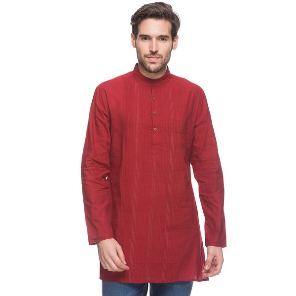 In-Sattva Shatranj Men's Cherry Red Indian Pin-Tuck Kurta Tunic