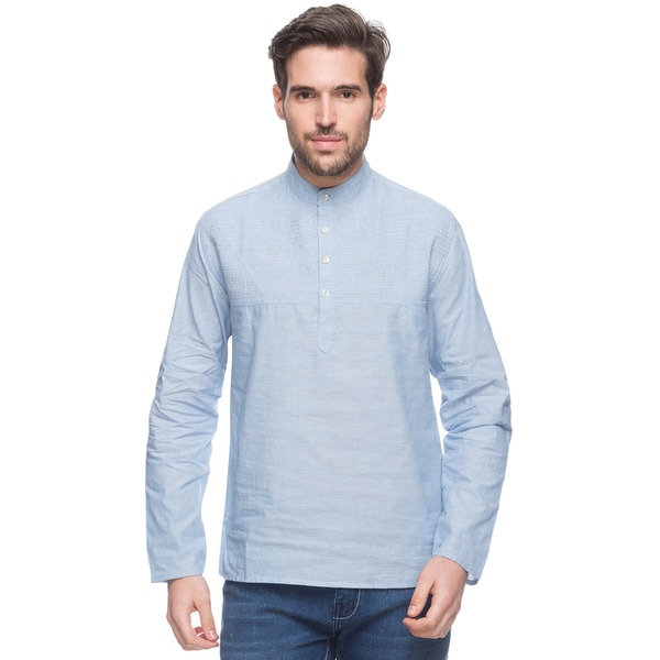 In-Sattva Shatranj Men's Sky Blue, Short, Pin-Tuck Indian Tunic with Banded Collar (India)