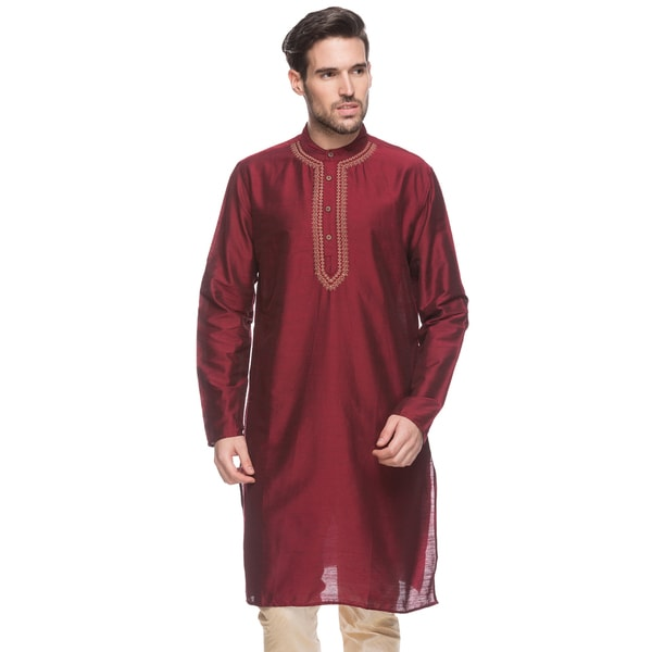 In-Sattva Shantraj Men's Indian Long Kurta Tunic Fine Embriodered Placket Textured Shirt