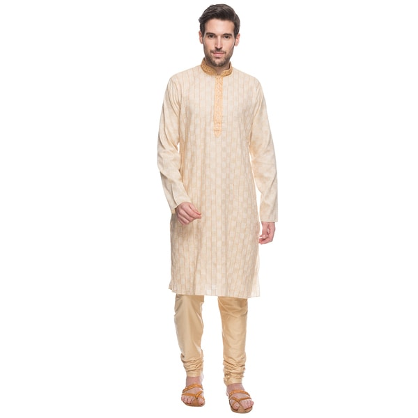 In-Sattva Shatranj Men's Indian Beige Tunic (with Embroidered Placket) and Trousers 2-Piece Suit Set (India)