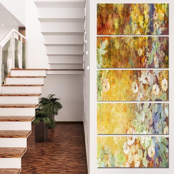 Designart 'Little Flowers with Soft Green Leaves' Flower Canvas Print Artwork 22014442
