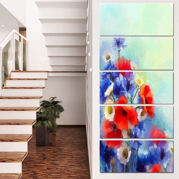 Designart 'Blue Cornflower and White Daisy' Flower Canvas Print Artwork