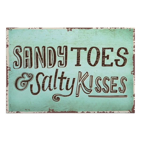 Sandy Toes & Salty Kisses Green Polyester Doormat