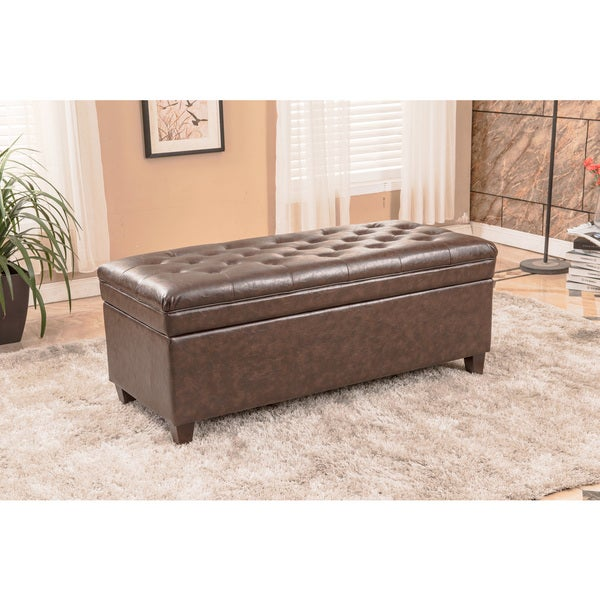 Premium Brown Faux Leather Tufted Storage Bench