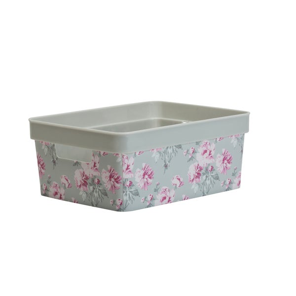 Laura Ashley Small Resin Storage Bin in Beatrice Grey