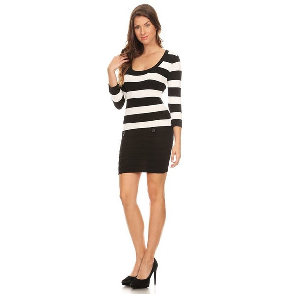 MOA Collection Women's Black and White Rayon and Spandex Striped Bodycon Dress