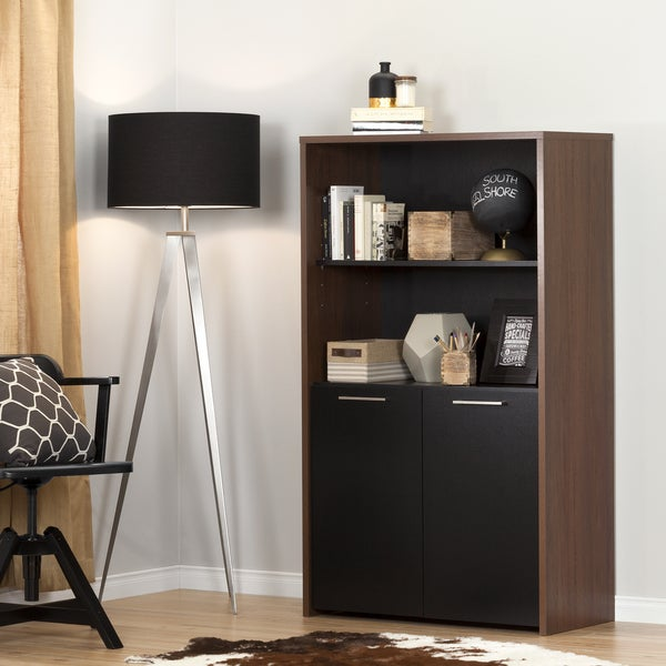 South Shore Tasko Brown Walnut and Pure Black Wood Storage Bookcase with Doors