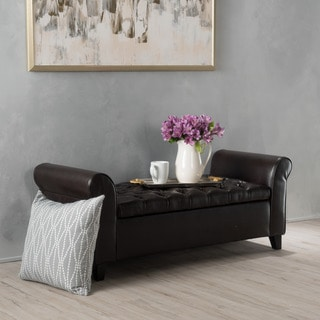 Keiko Contemporary Rolled Arm Storage Ottoman Bench by Christopher Knight Home