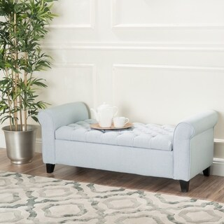 Keiko Contemporary Rolled Arm Fabric Storage Ottoman Bench by Christopher Knight Home