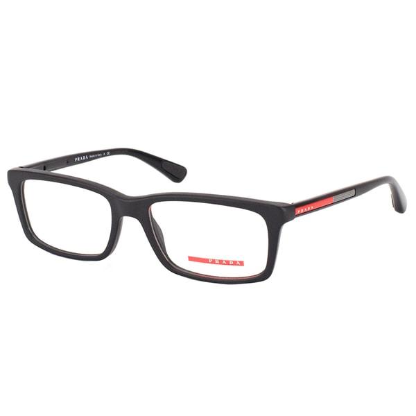 Prada Linea Rossa Matte Black Rectangular Eyeglasses (53mm)