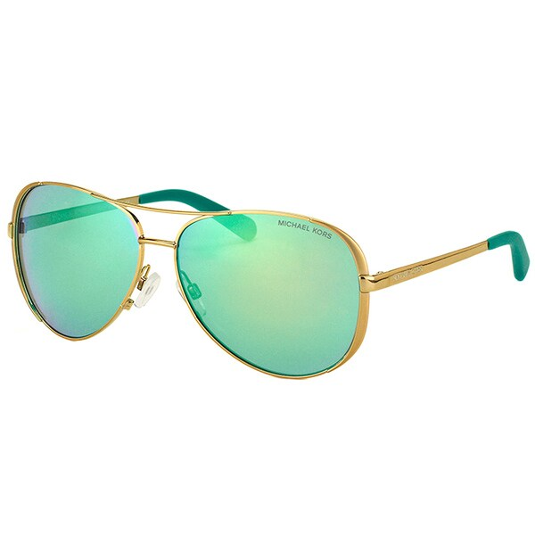 Michael Kors MK 5004 10043R Chelsea Gold Metal Aviator Green Mirror Lens Sunglasses