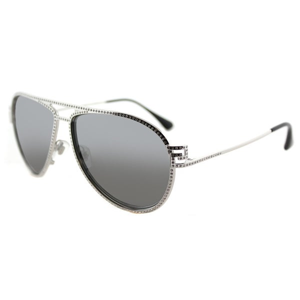 Versace VE 2171B 10006G Greca Stars Silver Metal Aviator Silver Mirror Lens 62mm Sunglasses