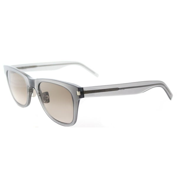 Saint Laurent SL 51 SLIM 005 Transparent Grey Plastic Rectangle Brown Gradient Lens Sunglasses