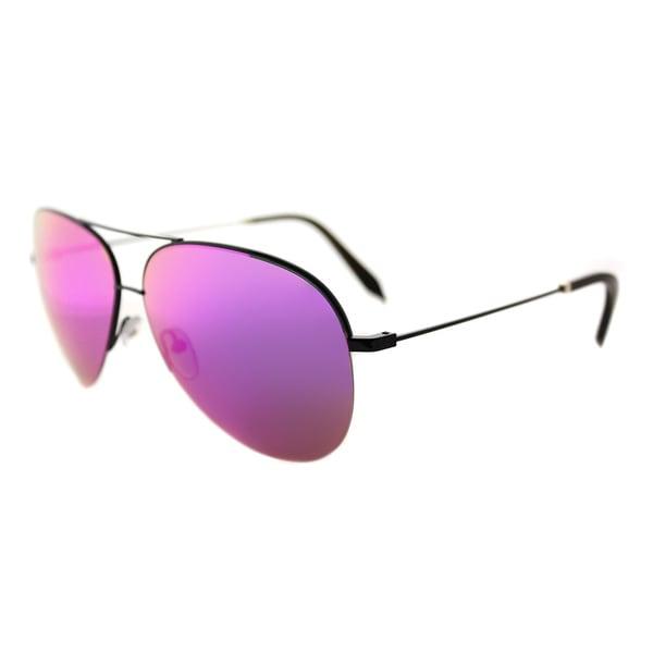 Victoria Beckham VBS 98 C01 Large Classic Victoria Shiny Black Metal Aviator Arizona Mirror Lens Sunglasses