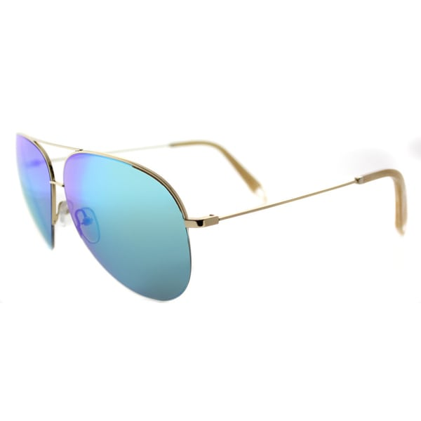 Victoria Beckham VBS 98 C02 Large Classic Victoria Shiny Gold Metal Aviator Sky Mirror Lens Sunglasses