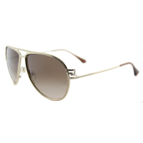 Versace VE 2171B 125213 Greca Stars Pale Gold Metal Aviator Brown Gradient Lens 59mm Sunglasses