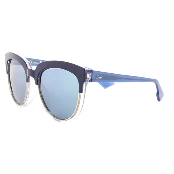 Dior Dior Sight 1/S REN T7 Blue Crystal Metal Cat-Eye Blue Mirror Lens Sunglasses