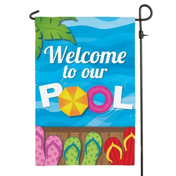 'Welcome To Our Pool' Multicolored Polyester Garden Flag