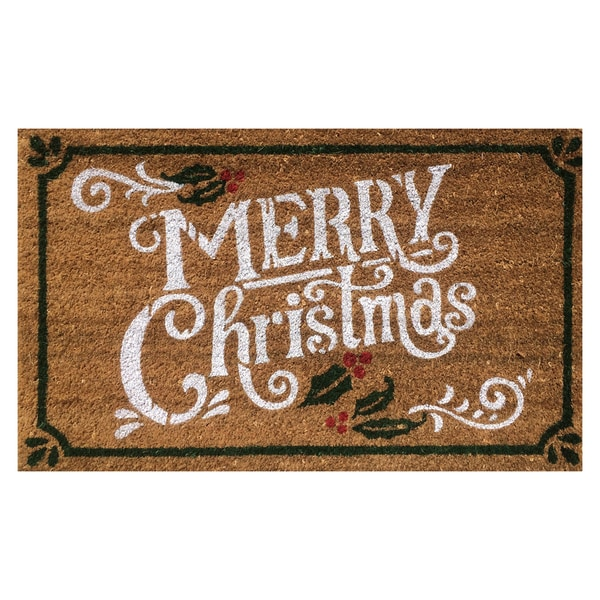 'Merry Christmas' Multicolor Coir Vinyl-backed Doormat (1'6 x 2'6)