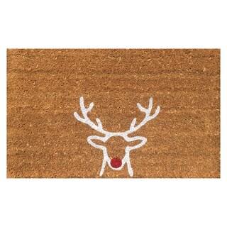 Red Nose Reindeer Christmas Vinyl Backed Coir Doormat (18 x 30)