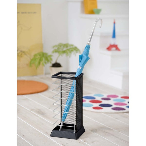 X-Change Square Black/ Silver Umbrella Stand by Yamazaki Home