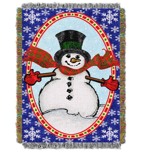 Bright Happy Snowman Throw