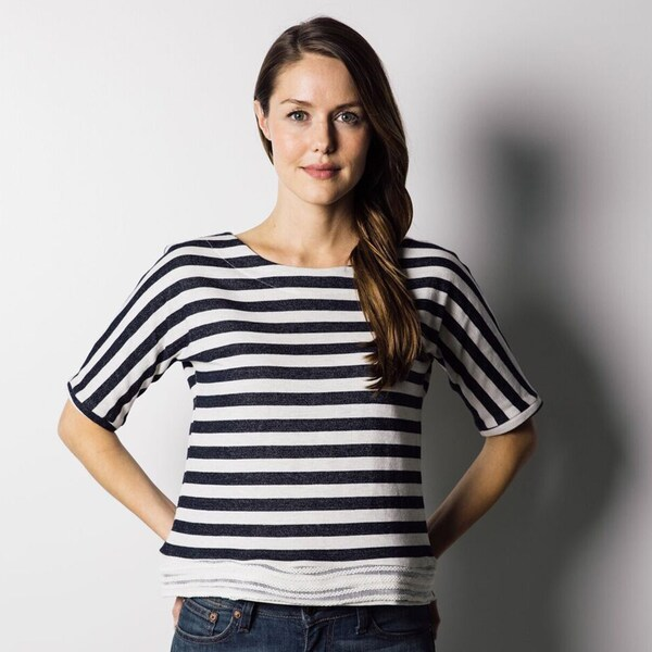 1791 Supply & Co Women's Midnight-striped Knit T-shirt