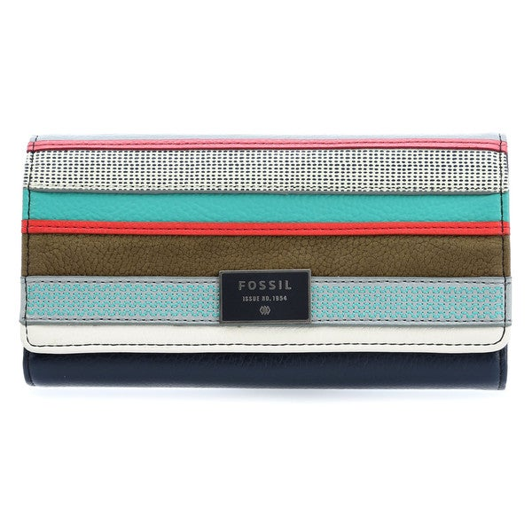 Fossil Dawson Blue Stripe Leather Flapover Clutch Wallet