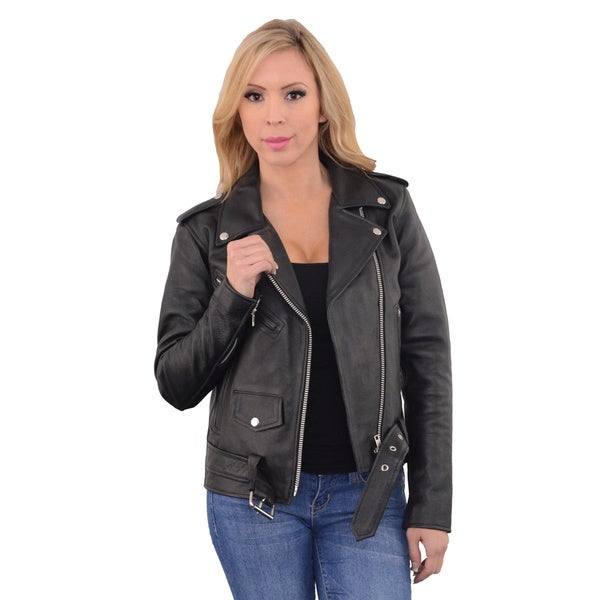 Women's Black Leather Classic Motorcycle Jacket 22026013