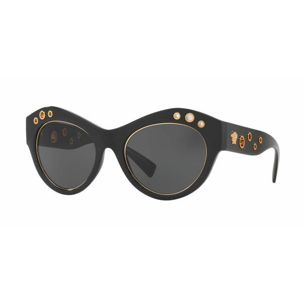 Versace Women VE4320 GB1/87 Black Plastic Cat Eye Sunglasses
