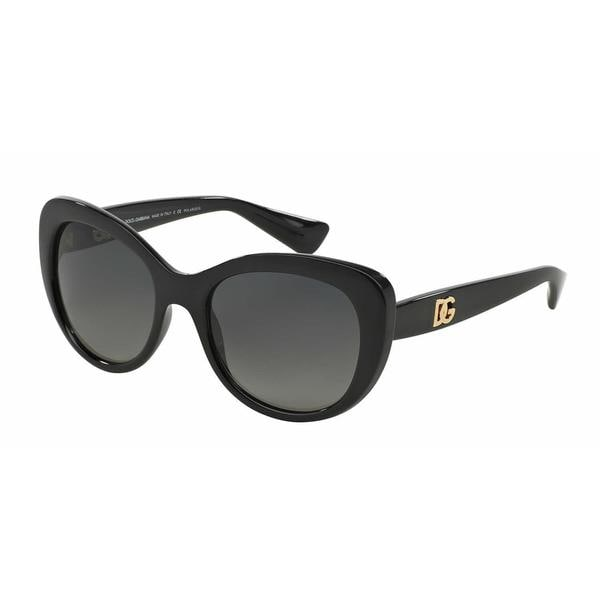 Dolce&Gabbana Women DG6090 LOGO EXECUTION 501/T3 Black Plastic Oval Sunglasses