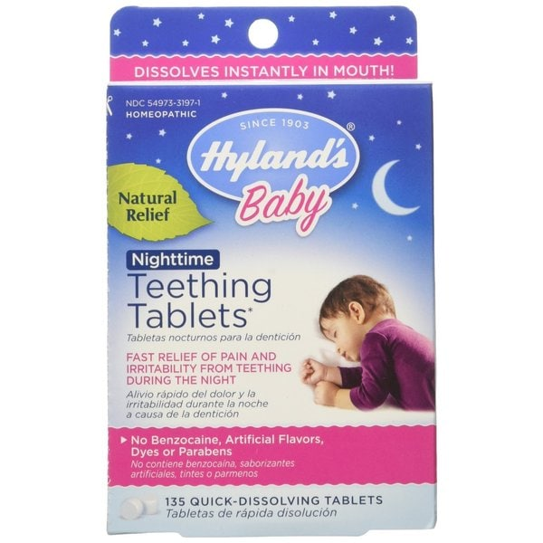Hyland's Baby Homeopathic Teething Tablets (Nighttime Formula) - 135 Tablets (8 Pack)