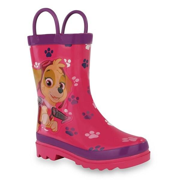 Nickelodeon Girls' Paw Patrol Pink Rubber Rain Boots