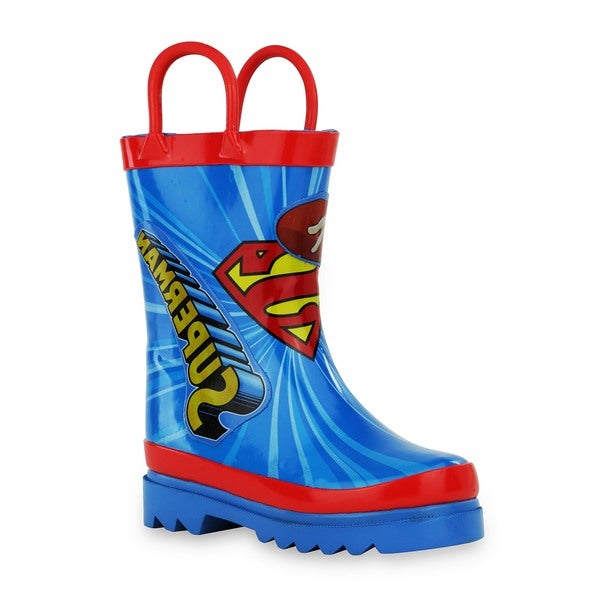 DC Comics Superman Boy's Blue/Red RubberToddler/Little Kid Rain Boots