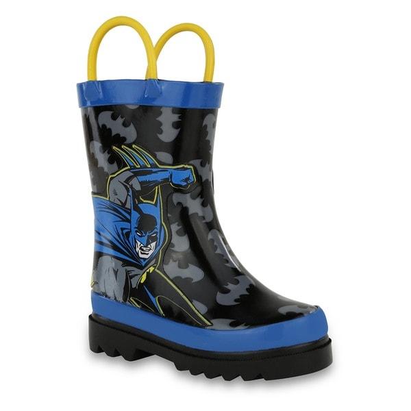 DC Comics Boys' Batman Blue and Black Rubber Rain Boots